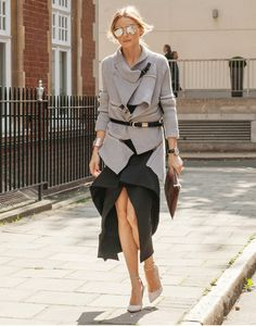 For look 5 of my fashion week diary, I'm layering some of my favorite Fall pieces starting with a Witchery sweater belted with a Reiss belt and paired with a Tony Mancevski skirt.  My shoes are Gianvito Rossi and my sunglasses are Dior.  Have a wonderful day!