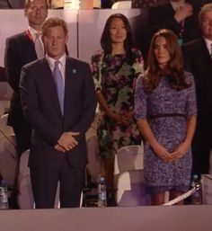 Prince Harry representing Her Majesty.  The Duchess is next to him at Olympics 2012 Closing Ceremony.