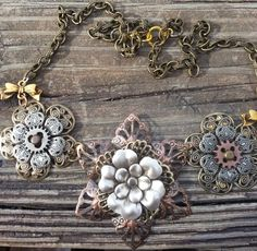 Victorian Filigree Style Steampunk Floral Necklace - $32.00 - Handmade Jewelry, Crafts and Unique Gifts by Secret Gems