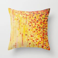 WHEN IT FALLS Bold Autumn Winter Leaves Abstract Acrylic Painting Christmas Red Orange Gold Gift Throw Pillow