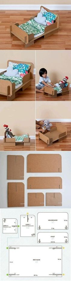 A DIY doll bed template. Maybe colored tape and washi tape for decoration - Diy Cardboard Toys Kids Crafts, Projects For Kids, Diy For Kids, Craft Projects, Craft Ideas, Tape Crafts, Diy Karton, Cardboard Toys, Cardboard Furniture