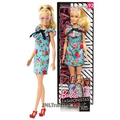 Year 2017 Fashionistas Series 12 Inch Doll Set - Caucasian BARBIE in Blue Retro Garden Party Dress with Pink Sunglasses Barbie Skipper, Barbie Dress, Kids Toy Shop, Barbie Fashionista Dolls, Diy Barbie Clothes, Dresses For Tweens, Pink Sunglasses, Barbie Collector, Barbie Friends
