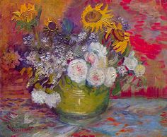 Vincent van Gogh Still life with roses and sunflowers   1886