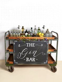 Create your own gin station with varieties of gin, lemons, cucumbers, herbs   and flavoured tonics. Image:Pinterest