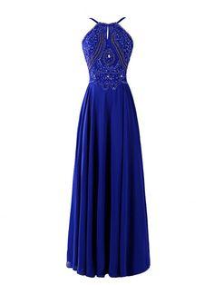 Magnetic Prom Dress,Royal Blue Prom Dresses,Halter  Prom Dresses,Backless  Prom Dresses,Rhinestone Beading Prom Dresses,Long Prom Dress,Backless  Prom Dress