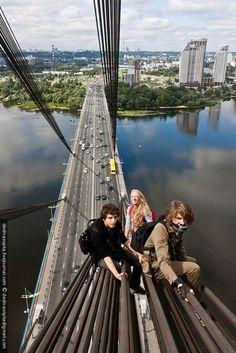 Bridge climbing in Kyiv, Ukraine, from Iryna