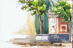 Patio de los Naranjos, Córdoba. Watercolor by Isabel Mariasg on handmade sketchbook with Saunders Waterford 300g paper.