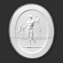 Tiberian Intaglio 37 Neptune in a dignified attitude. In his right hand he holds the trident, and in the left a dolphin.