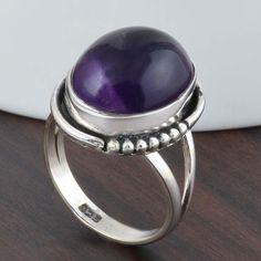 925 STERLING SILVER FANCY LADIS AMETHYST CAB RING 5.83g DJR5280 #Handmade #Ring