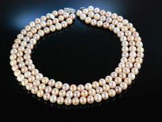 Kennedy Style pearl necklace! Fantastisches Zucht Perlen Collier rosé 3 reihig Gold 585