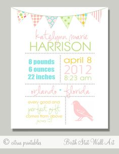 Birth Announcement  Birth Stats  Printable Wall by CitrusPaperCo, $10.00. Love love love this just don't know if I'd get in trouble for sending one without a picture!