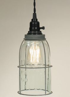 Lighting :: Country, Primitive, and Colonial Pendant Lighting :: Half Gallon Caged Mason Jar Pendant Lamp - Barn Roof - the Country Marketplace