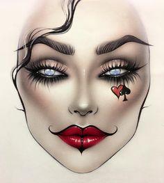 Alice In Wonderland Makeup, Makeup Face Charts, Mac Face Charts, Cute Halloween Makeup, Eye Makeup Designs, Creative Makeup Looks, Scary Makeup, Fantasy Makeup, Aesthetic Makeup