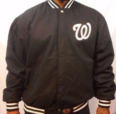 Washington Nationals Reversible JH Design Jacket Black and Team Colors #WashingtonNationals