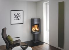 Contemporary corner wood-burning stove