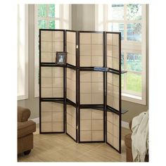 This four panel folding screen can be used as a room divider to enhance the ambiance and add a touch of flair to your home. With a rich cappuccino colored solid wood frame covered in a checkerboard woven beige fabric that gently filters the light, along with attachable display shelves for accessories or small decorative objects, this zen design will be an amazing functional accent in a living room, bedroom, or guestroom.