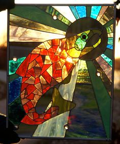 Jumping Salmon into the Sun Glass Panel by BlackCatGlass on Etsy, $400.00