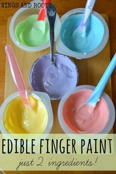 Finger Paint Recipe Edible finger paints with just 2 ingredients! For baby safe sensory play.Edible finger paints with just 2 ingredients! For baby safe sensory play. Baby Sensory Play, Sensory Activities, Baby Play, Infant Activities, Baby Toys, Activities For Kids, Edible Sensory Play, Baby Room Activities, Preschool Projects