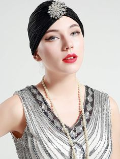 baee470ed6d 1920s Style Hats BABEYOND Womens Ruffle Turban Hat Knit Turban Headwraps  with Detachable Crystal Brooch for