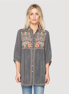 Johnny Was Clothing Plus Size Ramona Embroidered 3/4 Sleeve Button-Down Tunic Top in Grey