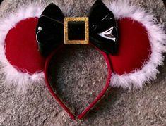 Santa Inspired Minnie Mouse Disney Ears -  #Christmas #ChristmasAtDisneyland #Disney #Disneyland #DisneyWorld #WDW #DisneyHeadband #Minnie #MinnieMouse #Mickey #MickeyMouse #Santa #SantaClaus