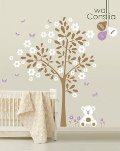 Baby Nursery Tree Wall Decal Wall Sticker - Teddy Bear Tree Wall Decal - Tree Decals - Large: approx 88 x 82 - K004 via Etsy