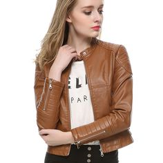 Ladies Light Brown Leather Jacket | Chaquetas de Cuero | Pinterest ...