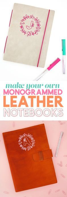 how to apply heat transfer vinyl to leather to make your own custom monogram leather notebooks