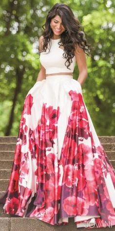 Two-Piece Floral Print Prom Dress by Jovani