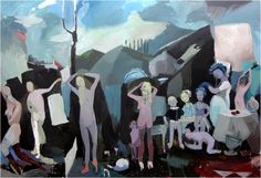 Helen Verhoeven, Blue Thing (Naked Lunch), acrylic on canvas, 240 x 370 cm, 2011