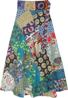 A beautiful wrap-around skirt with mixed patchwork in a bohemian hippie style is a must-have in your wardrobe. The cotton fabric is ideal to wear in every season and the cute floral and geometric patterns stand out in a unique way. #tlb #WrapAroundSkirt #Patchwork #Floral #Printed #bohemianfashion #Handmade #Longcottonsummerskirt #wraparoundskirtlong #bohoskirts #hippiewrapskirts #bohemianmaxiskirts