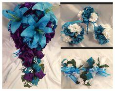 Turquoise and Purple Bridal Wedding Fliwers