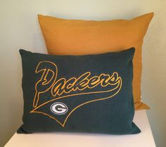 Green Pillow - Green Bay Packers Handmade Sweatshirt Pillow.  By GreenAndGoldWithEnvy on Etsy.