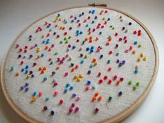 Embroidery Hoop Art Colorful Dots Hand Embroidery. $27.50, via Etsy.
