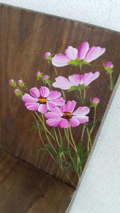 2번째 이미지 One Stroke Painting, Tole Painting, Fabric Painting, Diy Painting, Painting On Wood, Donna Dewberry Painting, Fabric Paint Designs, Cosmos Flowers, Simple Acrylic Paintings
