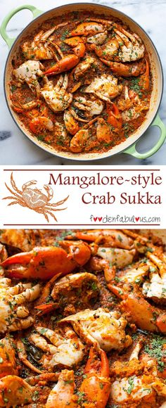 Mangalore style Crab Sukka Recipe from Karnataka with earthy flavours from blending whole spices with fresh coconut and a whole lot of crabs