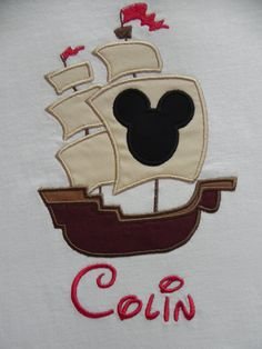 Applique Mickey Mouse Silhouette Pirate Ship by characterdesigns,