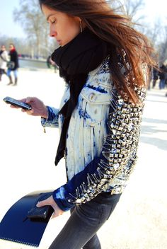 The ultimate embellished jean jacket inspiration! Bleached, studded and safety-pinned coolness...