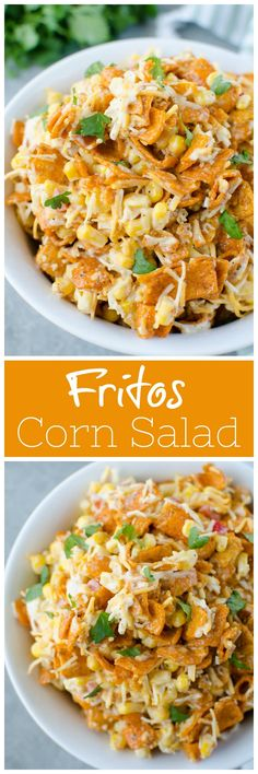 Fritos Corn Salad - crisp corn, bell pepper, cheese, and Chili Cheese Fritos in a creamy dressing. The perfect no cook, super easy summer side dish for all your barbecues! Side Dish Recipes, Veggie Recipes, Mexican Food Recipes, New Recipes, Salad Recipes, Cooking Recipes, Favorite Recipes, Healthy Recipes, Mexican Dishes