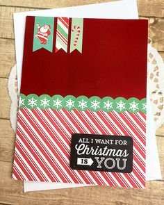 """All I Want for Christmas is You Holiday Card, Red Foil, Stripes, Candy Cane, Santa, Layers, Snowflakes, Season's Greetings, Shine -5"""" x 6.5"""" by PaperDahlsLLC on Etsy"""