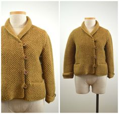 Aurelia | Vintage 50s Mustard-Gold Knit Cardigan | 1950s Asymmetrical Button-Up Sweater by RevengeOfTheDress on Etsy