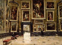 """Alexandre Jean-Baptiste Brun: """"View of the Salon Carré at the Louvre"""". circa oil on canvas, Current location: Louvre Museum. Museum Paris, Louvre Museum, Lacma Museum, Hermitage Museum, Metropolitan Museum, Museum Exhibition, Art Museum, Design Museum, Pierre Auguste Cot"""