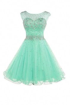Newest Mint Short Tulle Beading Homecoming Dresses 2017 Homecoming Dresses 2017, Cute Prom Dresses, Dresses For Teens, Pretty Dresses, Beautiful Dresses, Bridesmaid Dresses, Wedding Dresses, Dama Dresses, Quince Dresses
