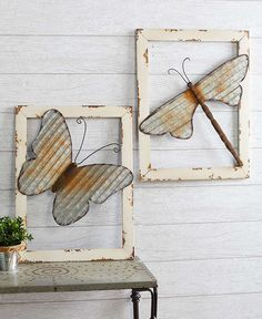 The Wood-Framed Metal Wall Decor is an antique-inspired piece that stands out. A flying critter sits on top of the distressed border--creating a effect. Metal Yard Art, Metal Tree Wall Art, Scrap Metal Art, Metal Wall Decor, Recycled Metal Art, Metal Artwork, Metal Art Projects, Metal Crafts, Metal Art
