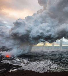 L'irruption du volcan sous-marin Kilauea à Hawai