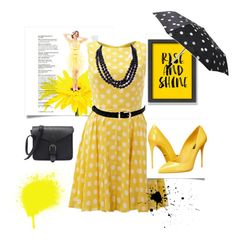 """""""black and yellow"""" by adisneygirlme ❤ liked on Polyvore featuring Americanflat, AX Paris, Dolce&Gabbana, Betsey Johnson, Tokyo Rose, Kate Spade, Summer, yellow, black and dress"""