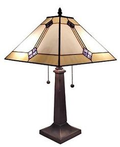 Tiffany-Style-Stained-Glass-Mission-Style-2-light-Table-lamp-W-13-Shade-23-H