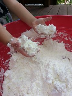 We made FLUFFY STUFF which is simply Summer snowball fight!    2 BOXES OF CORNSTARCH AND 1 CAN OF SHAVING CREAM!