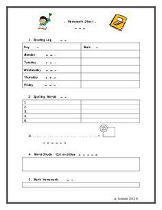 TeacherLingo.com $3.00 - Homework Sheet with Chinese Translations and Cute Graphics!