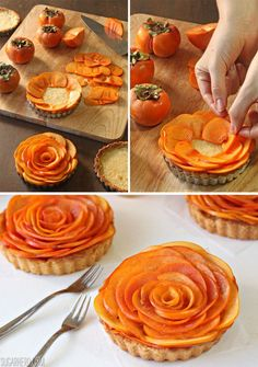 These Persimmon Almond Rosette Tarts are a gorgeous, unique fall dessert! Almond tart dough, almond frangipane, and fresh persimmons make these tarts special. Tart Recipes, Dessert Recipes, Cooking Recipes, Desserts To Make, Food To Make, Persimmon Recipes, Persimmon Cookies, Tart Dough, Vegan Scones